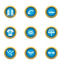 Alternative energy icons set flat style vector