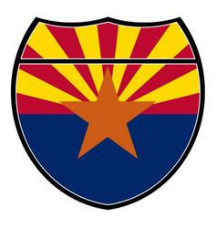 arizona flag in an interstate sign vector image