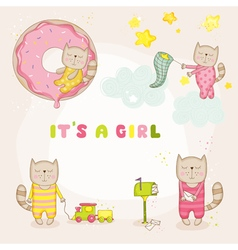 Baby girl cat set - shower or arrival cards vector