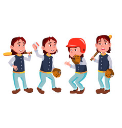 baseball boy schoolboy kid poses set vector image