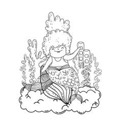 beautiful mermaid with seaweed fairytale character vector image