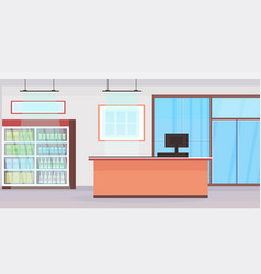 Big grocery shop cash desk counter supermarket vector