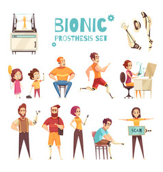 bionic prothesis cartoon icons set vector image