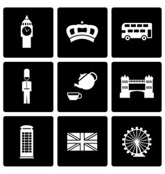 black london icon set vector image