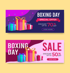 Boxing day banner sale templates with gift box and vector