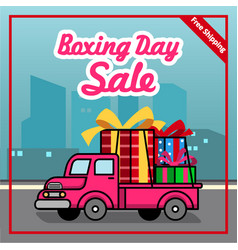 boxing day free shipping offer poster vector image