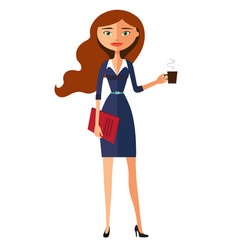 business carroty young woman with a cup of tea vector image