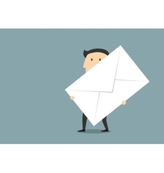 Businessman with big paper postal envelope vector