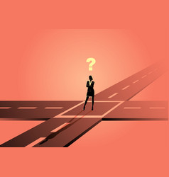 Businesswoman standing at intersection or vector