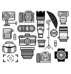 Camera and photo equipment isolated icons vector