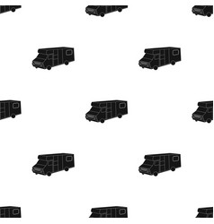 Campervan icon in black style isolated on white vector