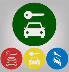 car key simplistic sign 4 white styles of vector image