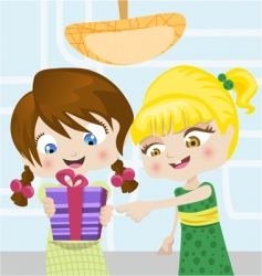 cartoon girls with gifts vector image vector image