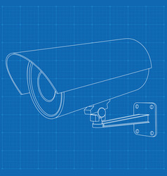 Cctv security camera outline drawing on blueprint vector