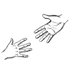 Child and adult hands engraving vector