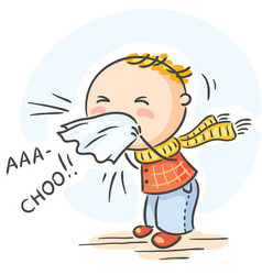 Child has got flu and is sneezing vector