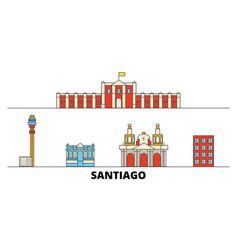 Chile santiago flat landmarks vector