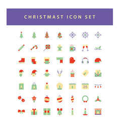 christmas icon set with colorful modern flat vector image