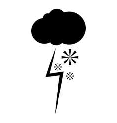 Cloud snow and lightning icon simple style vector