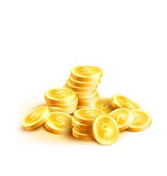 Coins icon of golden dollar coin cent pile vector