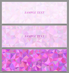 Colored tiled triangle mosaic banner design set vector