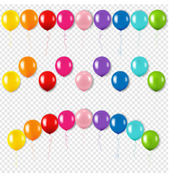 colorful balloons set isolated transparent vector image