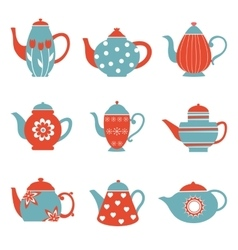 Colorful tea pots collection vector image
