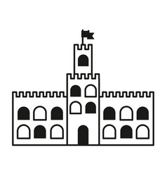 Contour castle built on an kingdom to protect them vector