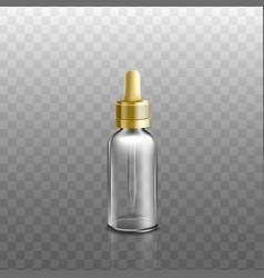 Cosmetic essential oils glass bottle 3d realistic vector