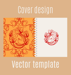 Cover design with chinese pattern vector