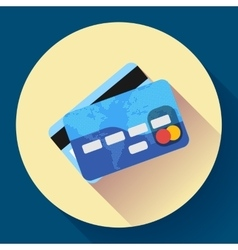 Credit Card icon with long shadow Flat vector image