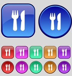 Crossed fork over knife icon sign A set of twelve vector