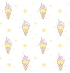 cute cartoon rainbow unicorn ice cream seamless vector image