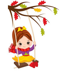 Cute little girl swinging on swing vector