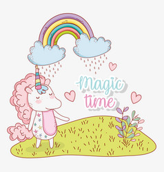 Cute unicorn with rainbow clouds and hearts vector