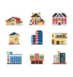 Digital blue red city buildings vector