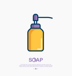 Dispenser for gel or foam soap thin line icon vector
