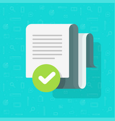 Document agreement and verified check mark vector