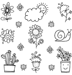 Doodle of spring theme collection vector