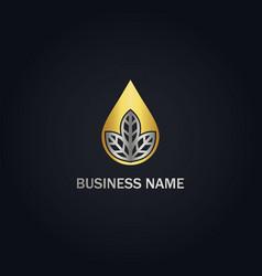 Droplet leaf nature gold logo vector