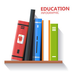 education infographic book shelf background vector image