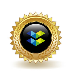 elastos cryptocurrency coin gold badge vector image