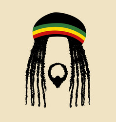 Face symbol of a man with dreadlocks hairstyle vector