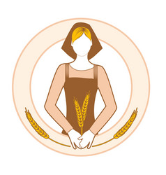 farmer woman in work clothes holding ears of vector image