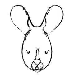 Figure cute rabbit head wild animal vector