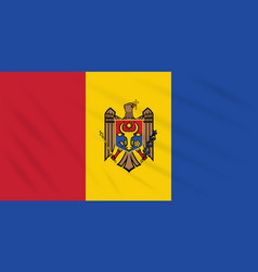 Flag moldova - reverse side swaying in wind vector