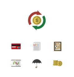 Flat icon gain set of interchange diagram cash vector