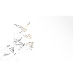 flying birds form lines triangles and particle vector image