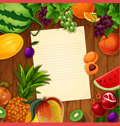 Fruits with blank paper on wooden background vector