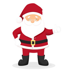 Funny cartoon santa claus with thumbs up vector